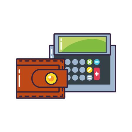calculator math finance with wallet money vector illustration design Ilustração