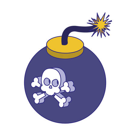 Skull and bomb design of Security system warning protection danger web alert and safe theme Vector illustration