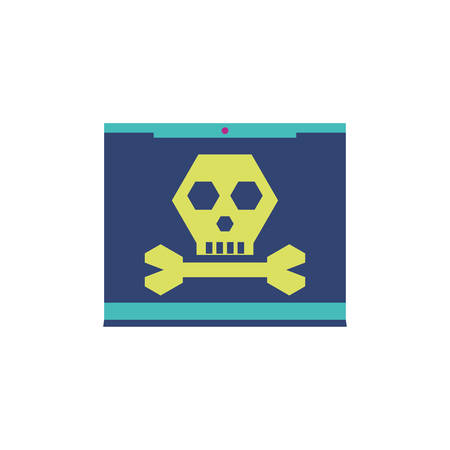 Skull and website design of Security system warning protection danger web alert and safe theme Vector illustration