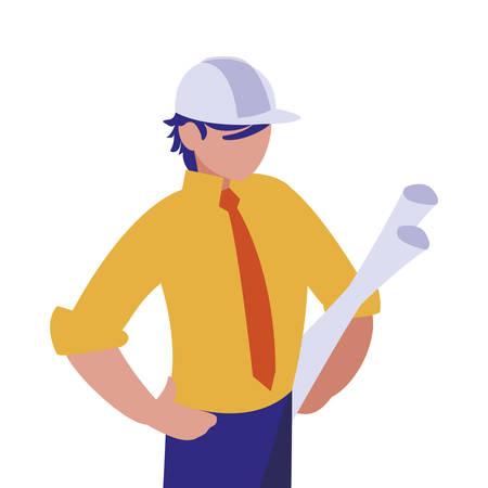 Architect avatar man with white helmet design of Construction working maintenance worker job workshop repairing and progress theme Vector illustration