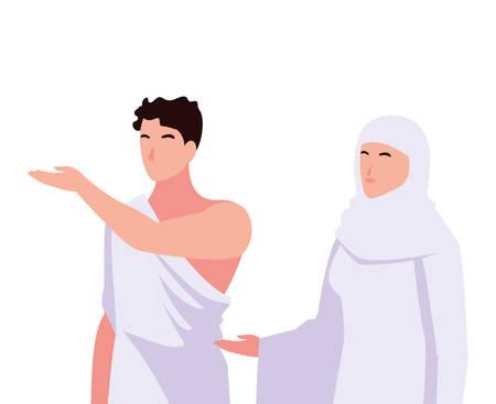 couple of people pilgrims hajj on white background vector illustration design Illustration