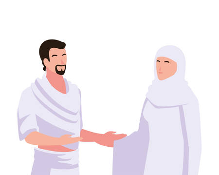 couple of people pilgrims hajj on white background vector illustration design Illustration