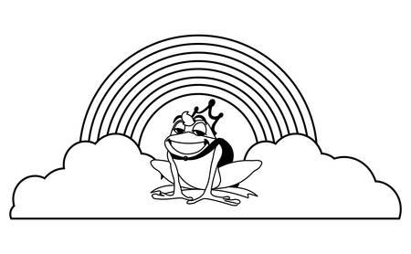 toad prince with rainbow fairytale character vector illustration design Ilustração