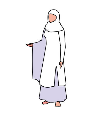 woman pilgrim hajj standing on white background vector illustration design
