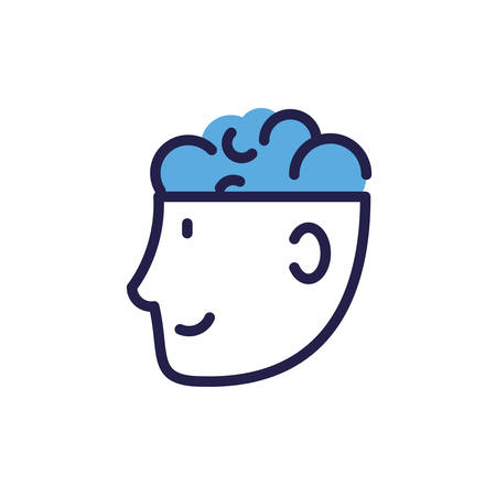 man head with human brain on white background vector illustration design