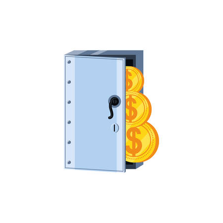 safe box security with coins vector illustration design