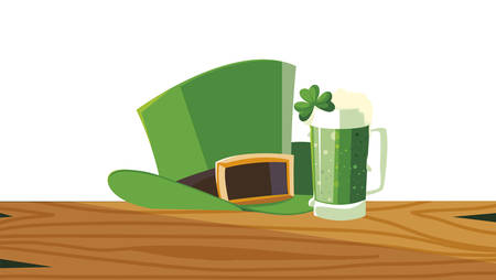 lemprechaun tophat with beer drink vector illustration design