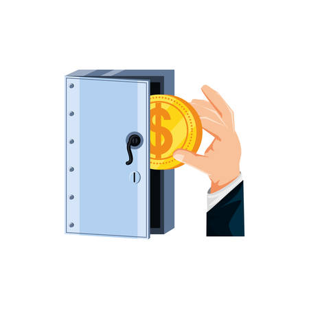 hand with coin and safe box security vector illustration design Stock fotó - 137628398