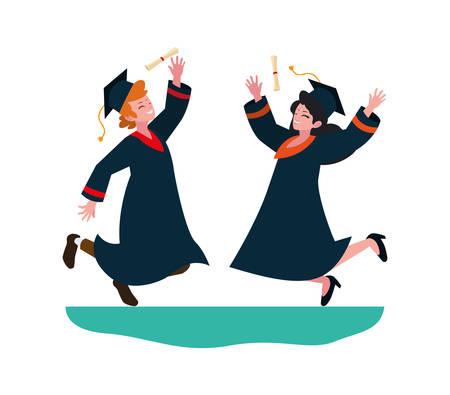 young couple students graduated celebrating vector illustration design Illustration