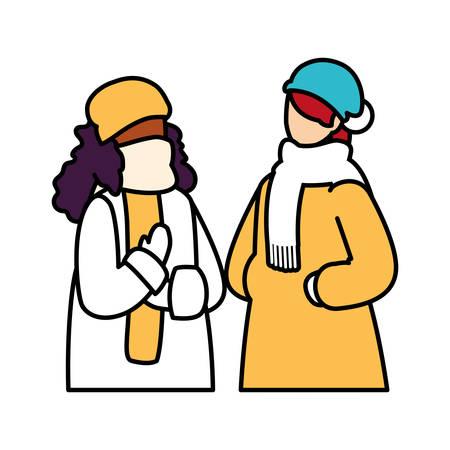 Mujeres con ropa de invierno sobre fondo blanco, diseño de ilustraciones vectoriales