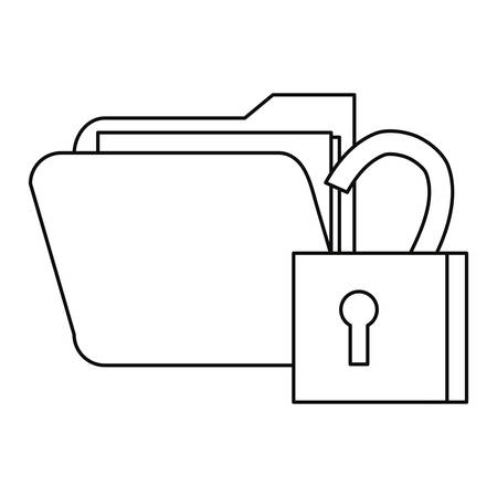 folder file padlock cybersecurity data protection vector illustration outline