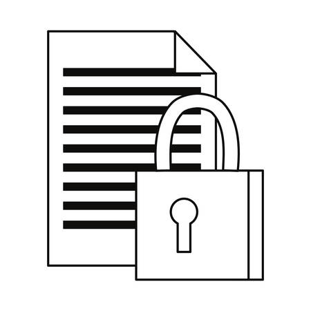 document padlock secure cybersecurity data protection vector illustration outline