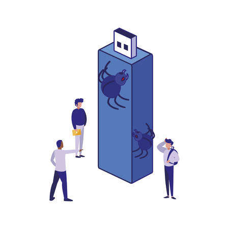 Usb men and spiders design of Security system warning protection danger web alert and safe theme Vector illustration
