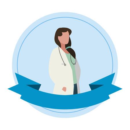 female doctor professional with stethoscope vector illustration design Ilustrace