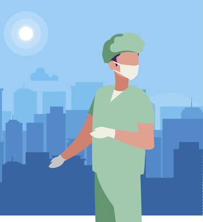 surgeon doctor professional character vector illustration design