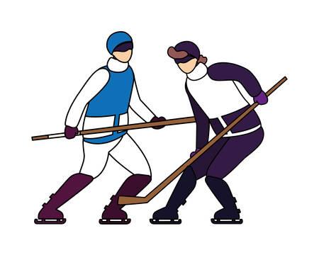 men playing ice hockey in white background vector illustration design Illusztráció