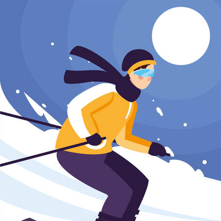 man with mountain ski, standing and in motion. Alpine skiing, extreme winter sport vector illustration design