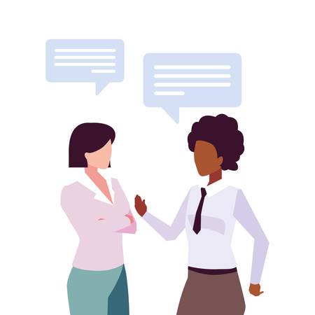 businesswomen with speech bubble on white background vector illustration design