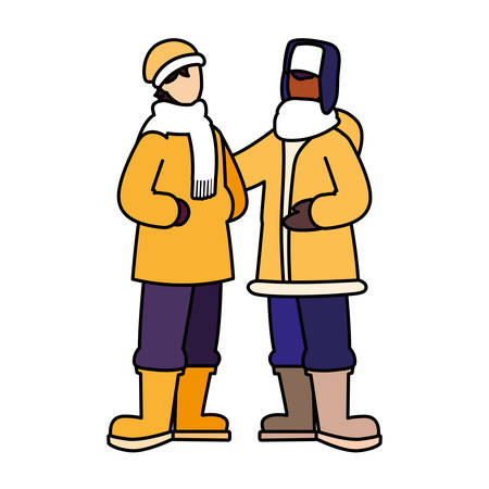 men standing with winter clothes on white background vector illustration design