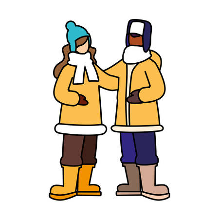 couple of people standing with winter clothes on white background vector illustration design