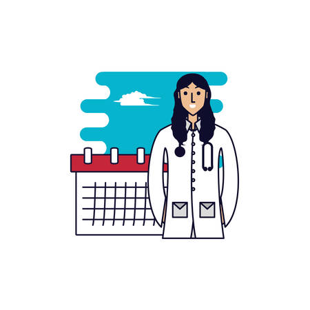 doctor female professional with calendar reminder vector illustration design