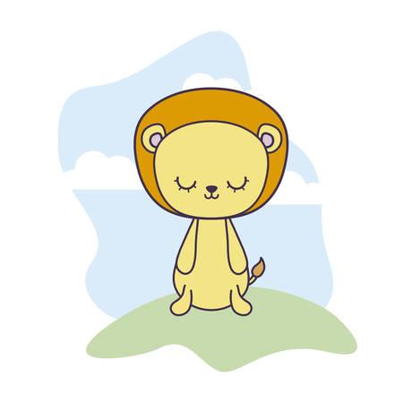 cute lion animal in landscape scene vector illustration design
