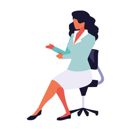 businesswoman sitting in office chair on white background vector illustration design Vectores