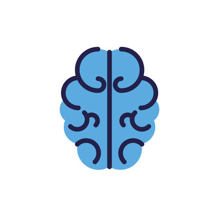 outline of human brain on white background vector illustration design