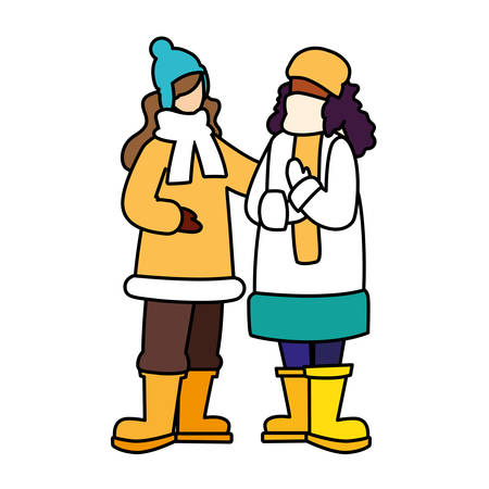women standing with winter clothes on white background vector illustration design 向量圖像