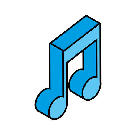 musical note in 3d on white background vector illustration design