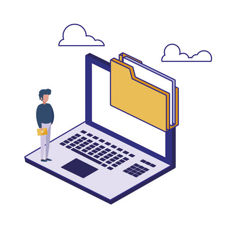 Laptop man and file design of Security system warning protection danger web alert and safe theme Vector illustration  イラスト・ベクター素材
