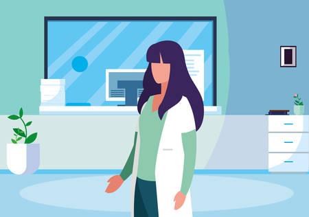 female medicine worker in clinic reception vector illustration design Ilustrace