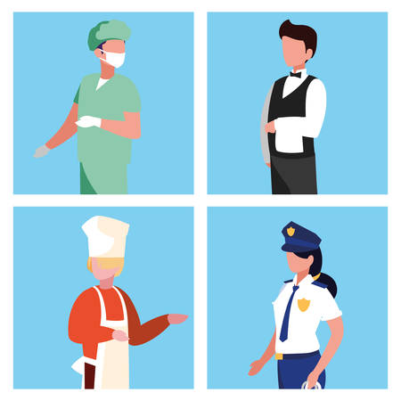 surgeon with group of professionals vector illustration design