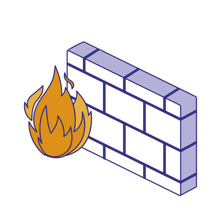 Flame and wall design of Security system warning protection danger web alert and safe theme Vector illustration