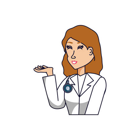 doctor female professional avatar character vector illustration design