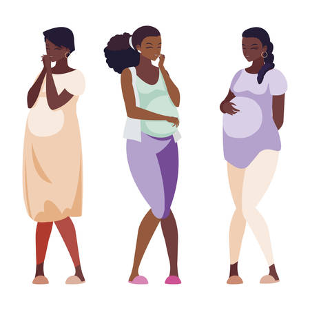 group of afro pregnancy women characters vector illustration design Ilustração