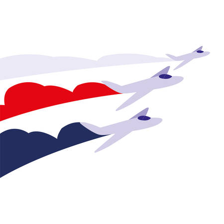 jets flying in formation on white background vector illustration design Illustration