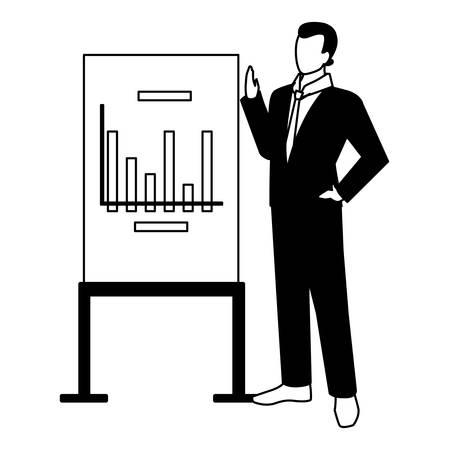 Empresario de pie con gráficos sobre fondo blanco, diseño de ilustraciones vectoriales