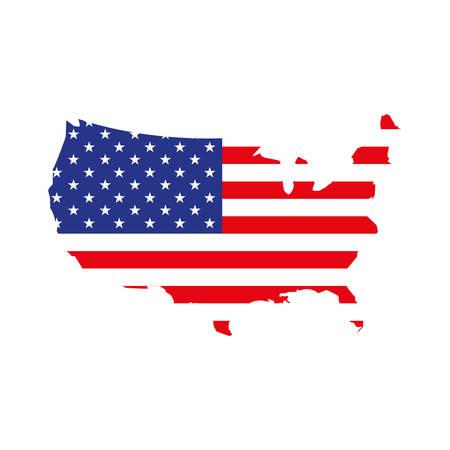 mappa degli stati uniti con disegno di illustrazione vettoriale di bandiera