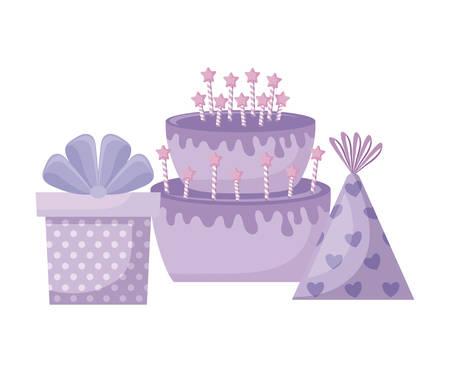 sweet cake with gift box and hat party vector illustration design Ilustração
