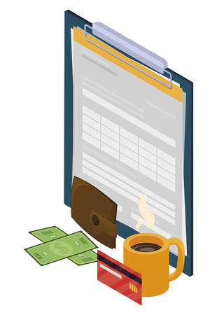 checklist clipboard with office icons vector illustration design Ilustrace