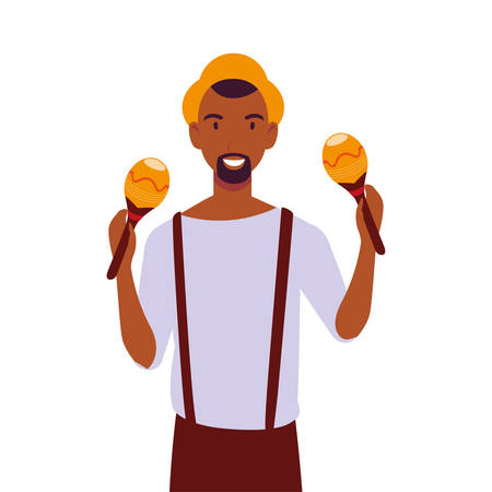 man with maracas on white background vector illustration design