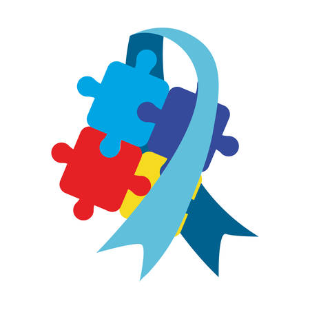 blue ribbon puzzles autism awareness day vector illustration