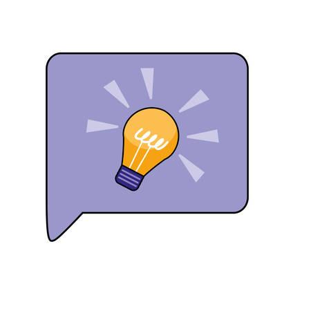 Light bulb inside communication bubble design, Message discussion conversation talk and technology Vector illustration Vectores