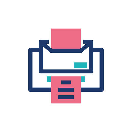 Printer with document design, Data archive storage organize business office and information theme Vector illustration 向量圖像