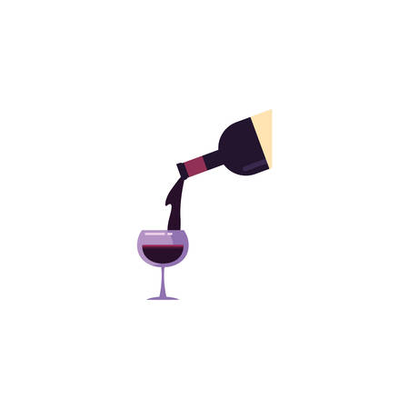 Wine bottle and cup design of Winery alcohol drink beverage restaurant celebration and party theme Vector illustration