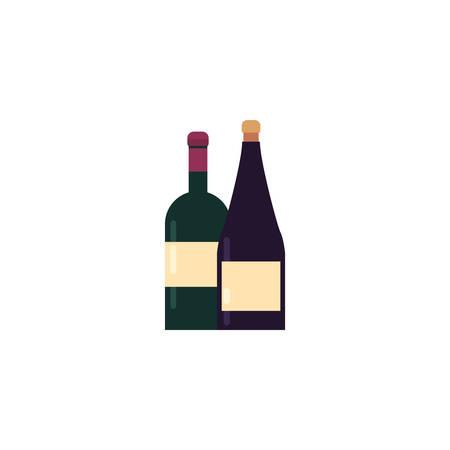 Wine bottles design of Winery alcohol drink beverage restaurant celebration and party theme Vector illustration Ilustracja