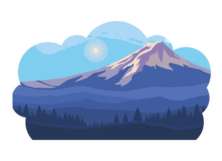 mountains snowscape scene icon vector illustration design