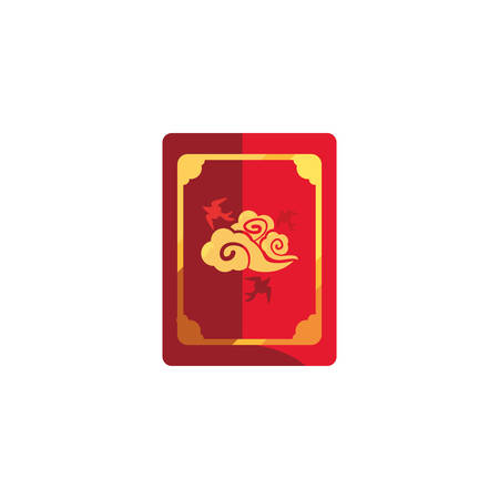 Chinese red card design, China culture asia travel landmark famous asian and oriental theme Vector illustration