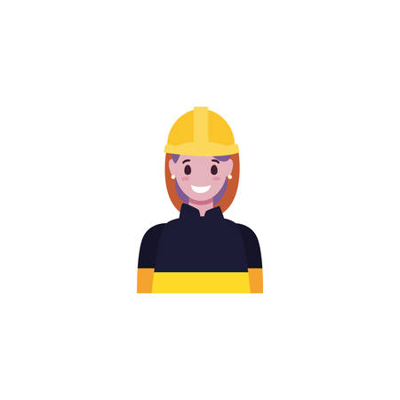 Builder avatar woman with yellow helmet design of Construction working maintenance worker job workshop repairing and progress theme Vector illustration Stock Illustratie